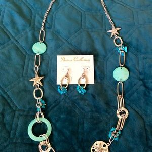 Sea shell necklace and earrings